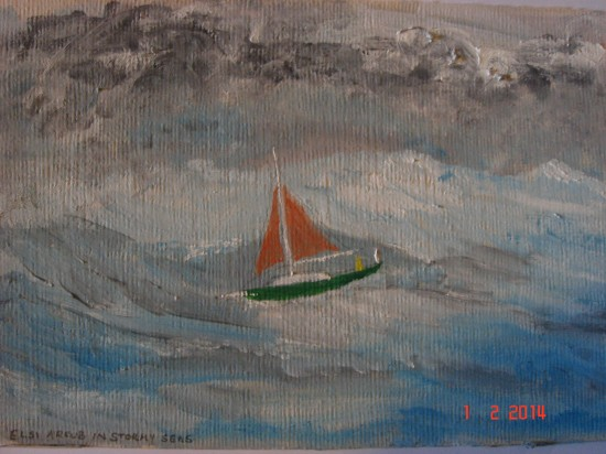 Elsi in stormy seas. The picture was painted by Francesca Ashmore earlier this year. We met her and her husband Bob in Falmouth before leaving.